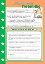 The belt diet – reading comprehension + short comparatives [3 tasks + keys included] ((3 pages)) **editable