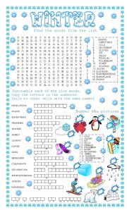 English Worksheet: WINTER + 3 DIFFERENT ACTIVITIES + KEY