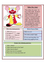 English Worksheets: Bobo the clown
