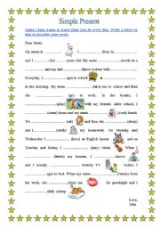 English Worksheet: Simple Pr;esent, a letter to Santa