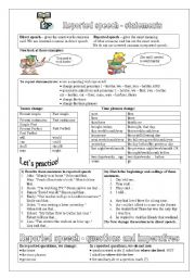English Worksheets: Reported speech: statements, questions, imperatives