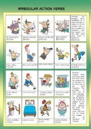 English Worksheets: IRREGULAR ACTION VERBS - EDITABLE