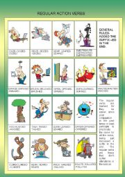 English Worksheets: REGULAR ACTION VERBS - EDITABLE