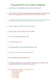 English Worksheets: Questions about sharks!
