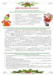 English Worksheet: SANTA VS. GRINCH - fun grammar worksheet
