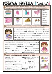 English Worksheets: Pyjama Parties + Used to