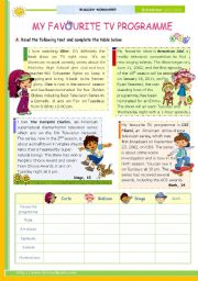 English Worksheet: My Favourite TV Programme  -  Reading Comprehension