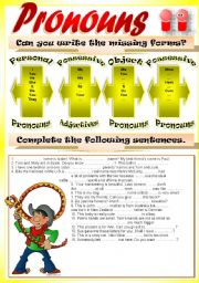 English Worksheet: PRONOUNS & ADJECTIVES (Personal, possessive + object)