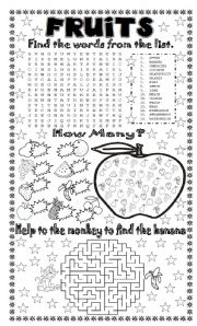 English Worksheet: FRUITS + 3 DIFFERENT EXERCISES