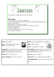 English Worksheets: Seances: Question game for practising the past.