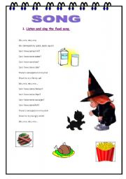 English Worksheet: food song
