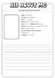 English Worksheets: Writing about yourself