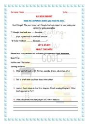 English Worksheet: Excellent Book report- It has everything you need