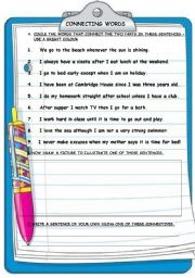 English Worksheets: CONNECTING WORDS