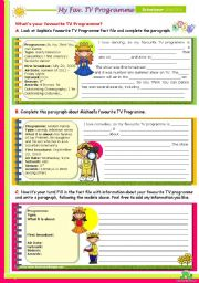 English Worksheet: My Favourite TV Programme  - Guided Writing