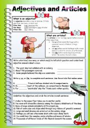 English Worksheets: Adjectives and Articles