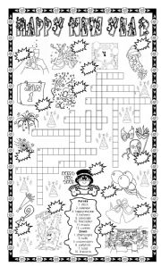 English Worksheet: NEW YEAR PUZZLE - NUMBER THE PICTURES