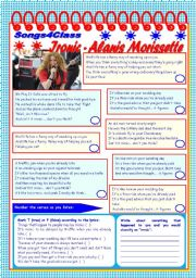 English Worksheet: Songs4Class: Ironic – Alanis Morissette – listening + comprehension [4 tasks + tasks suggested] ((2 pages)) ***editable