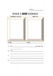 English Worksheet: Comparison Invent an Animal