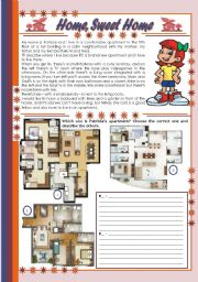English Worksheet: Home, Sweet Home � comprehension, rooms of a house and prepositions [4 tasks + tasks suggested] ((2 pages)) ***editable