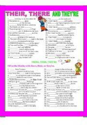 English Worksheets: THEIR, THERE, THEY�RE