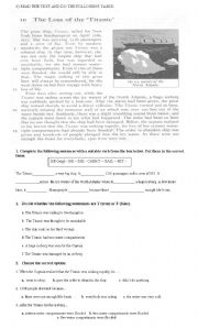English Worksheets: The Loss of the Titanic