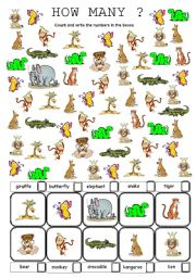 English Worksheets: wild animals how many are there?