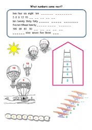english worksheets what numbers come next. Black Bedroom Furniture Sets. Home Design Ideas