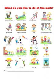 English Worksheet: What do you like to do at the park?