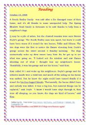 English Worksheet: A reading passage about Tallie and Gibson;two dogs=two hereos/ useful for end-term exam 1st year secondary education Tunisia