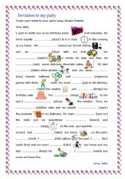 English Worksheet: Invite your friend at your birthday party