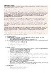 English Worksheet: Gay marriages in Spain