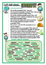 English Worksheets: LET�S TALK ABOUT GEOGRAPHY (SPEAKING SERIES 89)