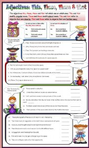 English Worksheets: This, Those, These & That