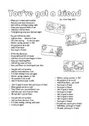 English Worksheet: Carol King classic: You´ve got a friend  (2 pages)