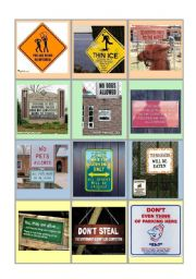 English Worksheets: FUNNY SIGNS DISCUSSION CARDS