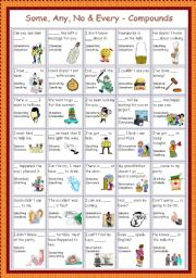 English Worksheet: Some, Any, No, Every - compounds