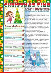 English Worksheet: LISA´S CHRISTMAS - READING AND COMPREHENSION ( TWO PAGES) - KEY INCLUDED