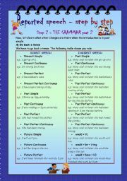 English Worksheet: Reported Speech - step by step * Step 2 * Grammar  * part 2