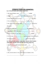 English Worksheets: conjunction