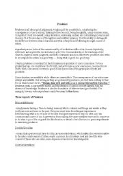 English Worksheets: prudence