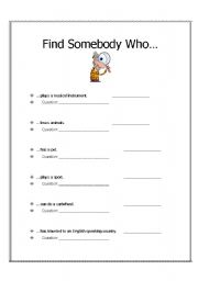 English Worksheets: Find Somebody Who