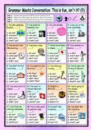 English Worksheet: Grammar Meets Conversation: Questions Tags (9) - Asking for Information