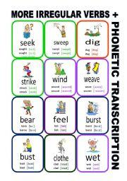 English Worksheet: Set10: Irregular verbs cards + phonetic transcription