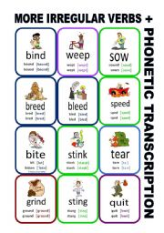 English Worksheet: Set11: Irregular verbs cards + phonetic transcription