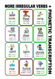 English Worksheet: Set9: Irregular verbs cards + phonetic transcription