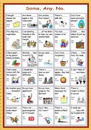 English Worksheets: some/any/no