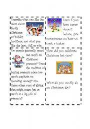 English Worksheet: Christmas Speaking Cards 2