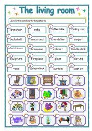 English Worksheet The Living Room