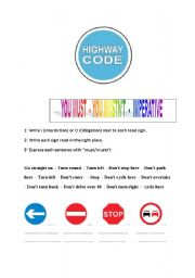 English Worksheet: The Highway code : obligation and interdiction